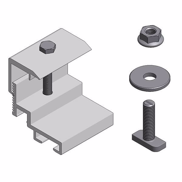 Afbeeldingen van Alu klem voor optimizer/ micro omvormer - klem aan paneel